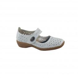 Pantofi dama din piele naturala, RIEKER, Alb